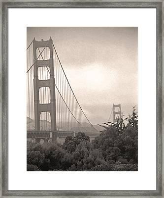 Golden Gate Sepia Framed Print by Steve Ohlsen