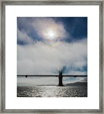 Golden Gate Silhouette And Rainbow Framed Print