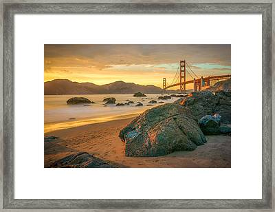 Golden Gate Sunset Framed Print by James Udall