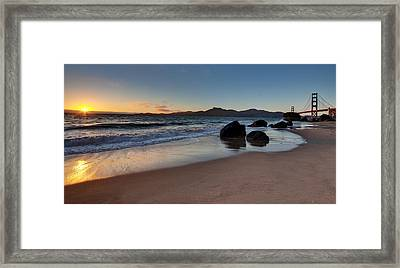 Golden Gate Sunset Framed Print by Mike Reid