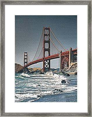 Golden Gate Surf Framed Print by Dennis Cox WorldViews