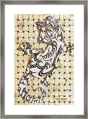 Framed Print featuring the painting Golden Gecko by J- J- Espinoza
