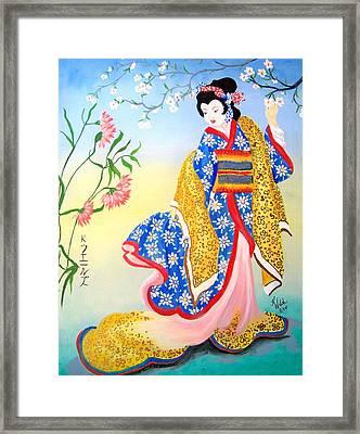 Golden Geisha Framed Print by Kathern Welsh
