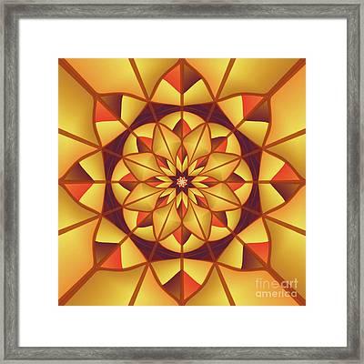 Golden Geometric Flourish Framed Print