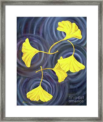 Golden Ginkgo Leaves On Gray  Framed Print