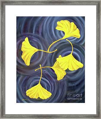 Golden Ginkgo Leaves On Gray  Framed Print