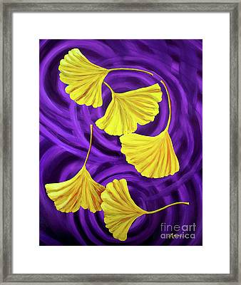 Golden Ginkgo Leaves On Purple Framed Print