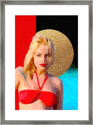 Framed Print featuring the digital art Golden Girl No. 2 by Serge Averbukh