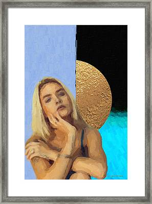 Framed Print featuring the digital art Golden Girl No. 4  by Serge Averbukh