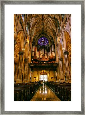 Golden Glow Of St. Patrick's Cathedral Framed Print by Jessica Jenney