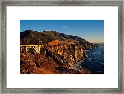 Golden Glow On Big Sur 2 Framed Print by Kathy Yates