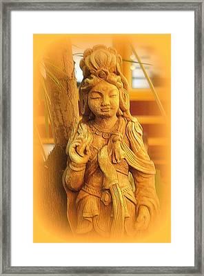 Golden Goddess Statue Framed Print