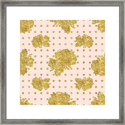 Golden Gold Blush Pink Floral Rose Cluster W Dot Bedding Home Decor Framed Print by Audrey Jeanne Roberts