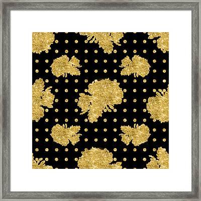 Golden Gold Floral Rose Cluster W Dot Bedding Home Decor Art Framed Print by Audrey Jeanne Roberts