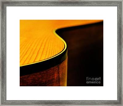 Golden Guitar Curve Framed Print