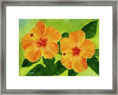 Golden Hawaii Hibiscus Flower #25 Framed Print by Donald k Hall