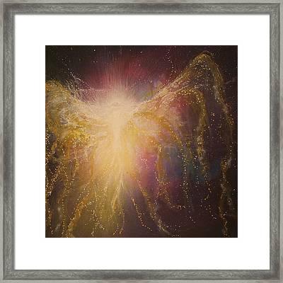 Golden Healing Angel Framed Print by Naomi Walker