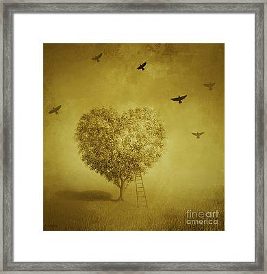 Golden Heart Framed Print