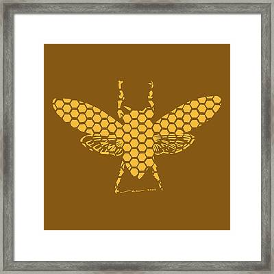 Golden Hex Bee Framed Print