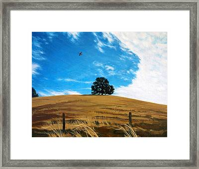 Golden Hills Summer Sky Framed Print by Jill Iversen