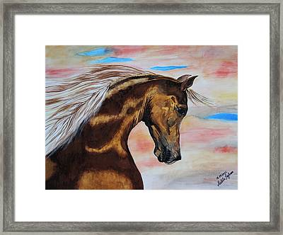 Framed Print featuring the painting Golden Horse by Melita Safran