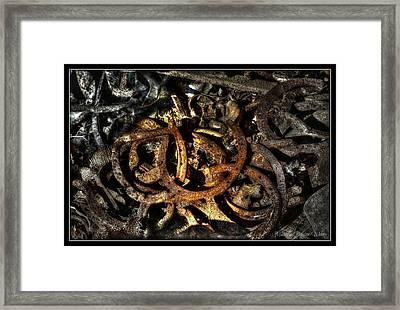 Golden Horse Shoes Framed Print