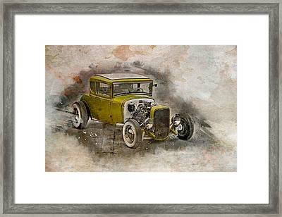 Framed Print featuring the photograph Golden Hot Rod by Joel Witmeyer
