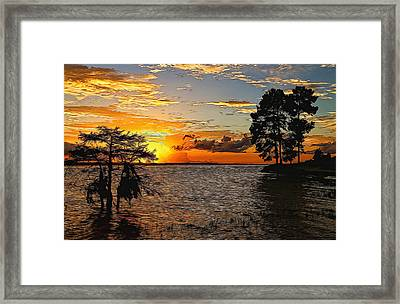 Golden Hour At The Lake Painted Framed Print by Judy Vincent
