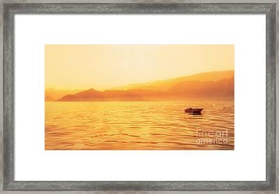 Golden Hour Capture Of Indian Ocean Shore Framed Print by Mikhail Golovastikov