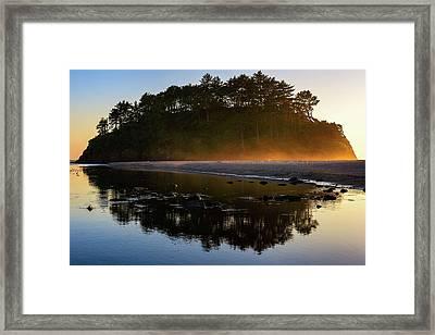Golden Hour Haze At Proposal Rock Framed Print