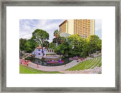Golden Hour Shot Of Arneson River Theatre At La Villita San Antonio Riverwalk - Bexar County Texas Framed Print