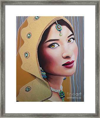 Golden Indian Bride Framed Print