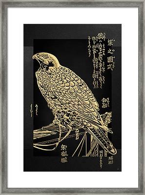 Golden Japanese Peregrine Falcon On Black Canvas  Framed Print