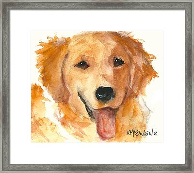 Golden Retriever Watercolor Painting By Kmcelwaine Framed Print