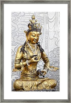 Golden Kuan Yin Framed Print by Anek Suwannaphoom