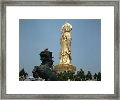 Golden Kwan Yin Framed Print by Melissa Stinson-Borg