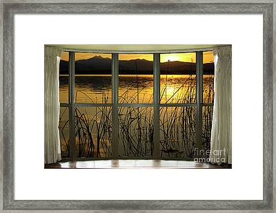 Golden Lake Bay Picture Window View Framed Print