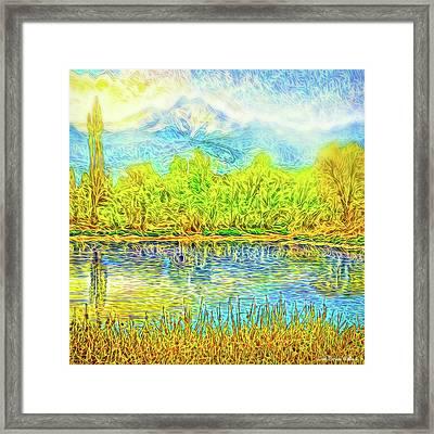 Golden Lake Reflections Framed Print by Joel Bruce Wallach