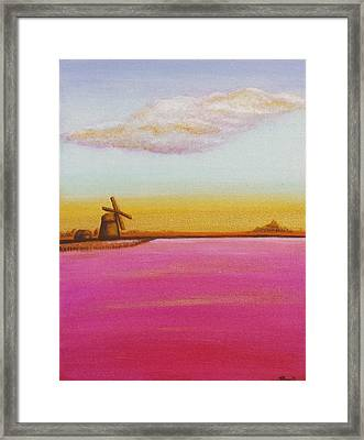 Golden Landscape With Windmill Framed Print by Beryllium Canvas