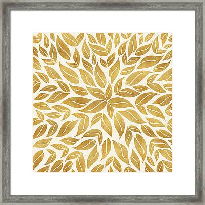 Framed Print featuring the mixed media Golden Leaf Mandala by Kristian Gallagher