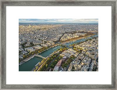 Golden Light Along The Seine Framed Print by Mike Reid