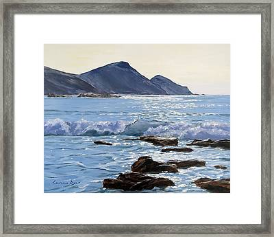 Framed Print featuring the painting Golden Light At Crackington Haven by Lawrence Dyer
