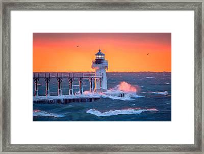 Golden Light At The Lighthouse Framed Print by Jackie Novak