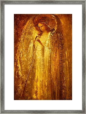 Golden Light Of Angel Framed Print