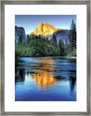 Golden Light On Half Dome Framed Print
