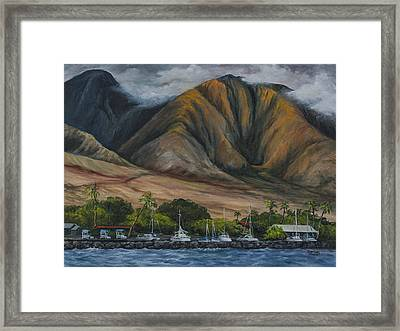 Framed Print featuring the painting Golden Light West Maui  by Darice Machel McGuire