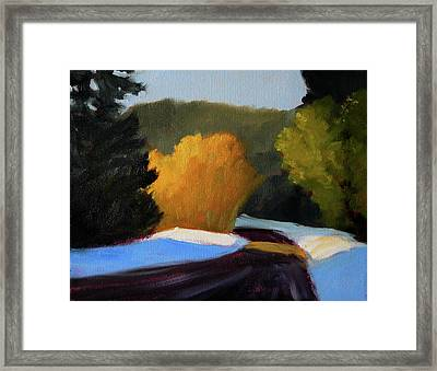 Framed Print featuring the painting Golden Light Winter Road by Nancy Merkle
