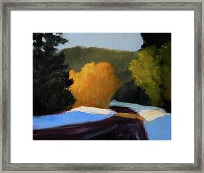 Golden Light Winter Road Framed Print