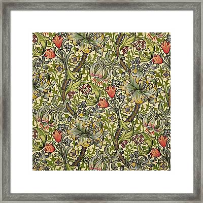 Golden Lily Pattern Framed Print by William Morris