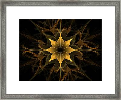 Golden Lotus Swirls Framed Print